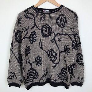 Vintage 80s 90s Gold Black Floral Pullover Sweater